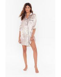 "Nasty Gal ""star-t Again Satin Pajama Shirt Dress"" - Multicolor"