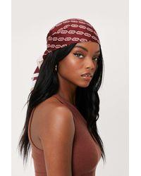 Nasty Gal Chain Print Satin Tie Headscarf - Red