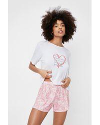 Nasty Gal Badass Bitch Heart T-shirt And Shorts Pajama Set - Pink