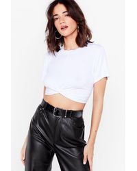 Nasty Gal Knot My Fault Petite Crop Top - White