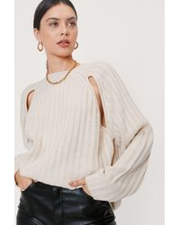 Nasty Gal Cut Out Ribbed Crew Neck Jumper - Multicolour