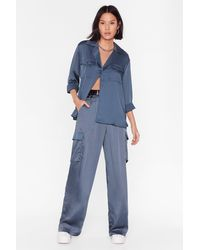 Nasty Gal This Is How It Works Satin Utility Trousers - Blue