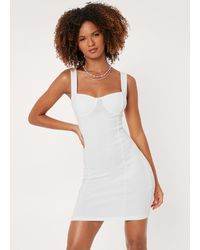 Nasty Gal Cupped Square Neck Mini Dress - White