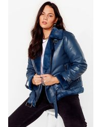 Nasty Gal See You Aviator Plus Faux Leather Jacket - Blue