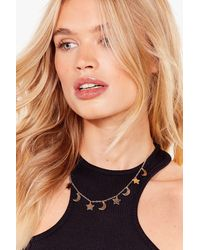 Nasty Gal Cosmic Changes Moon And Stars Necklace - Metallic