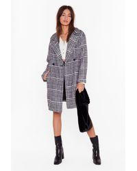 "Nasty Gal ""keep You In Check Longline Coat"" - Black"