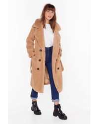 Nasty Gal Are You Teddy Fur It Faux Shearling Longline Coat - Multicolour