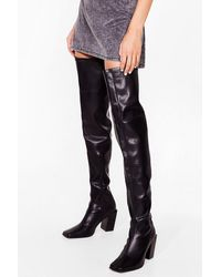 Nasty Gal Steal The Show Block Heel Over-the-knee Boots - Black