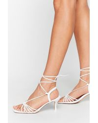 """Nasty Gal """"strappy To Be Here Kitten Heel Sandals"""" - White"""