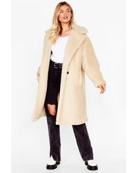 Nasty Gal We're Teddy Faux Fur You Oversized Coat - Natural