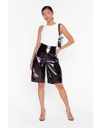 """Nasty Gal """"it's Been Too Longline Vinyl High-waisted Shorts"""" - Black"""