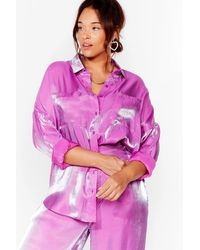 Nasty Gal Your Shine Is Now Plus Oversized Shirt - Purple