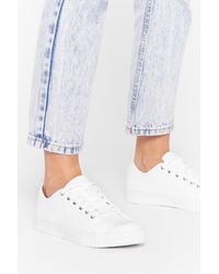 "Nasty Gal ""lace-up Canvas Platform Sneakers "" - White"