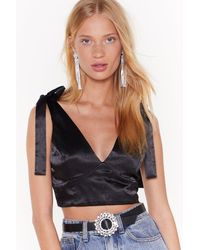 """Nasty Gal """"ties On The Prize Satin Cupped Top"""" - Black"""