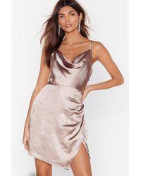 Nasty Gal Don't Cowl Me Angel Satin Wrap Dress - Multicolour