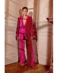 Nasty Gal Velvet V Neck Oversized Blazer - Pink