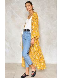 Nasty Gal Dance Me To The End Of Love Floral Kimono - Yellow