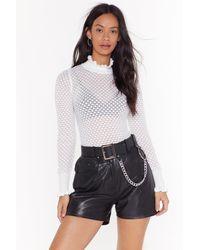 Nasty Gal Open Knit Lettuce Frill Knit Sweater - White