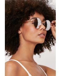 Nasty Gal Tinted Oversized Round Sunglasses - Metallic