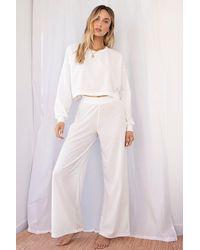 Nasty Gal Pantalon Large Côtelé Taille Haute Je Suis Largement Passée À Autre Chose - Blanc