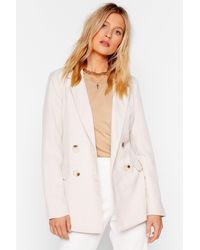 """Nasty Gal """"what A Great Square Check Blazer"""" - Natural"""