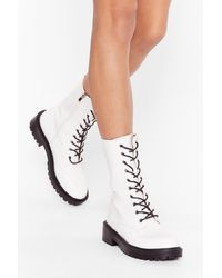 Nasty Gal Tied And Tested Faux Leather Lace-up Boots - White