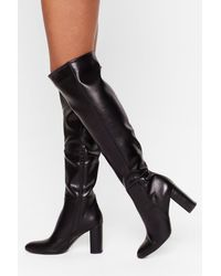 """Nasty Gal """"show Up Over-the-knee Faux Leather Boots"""" - Black"""