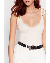 Nasty Gal It's Not Square Faux Leather Buckle Belt - Metallic