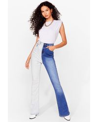 Nasty Gal Takes Two-tone To Tango Flared Jeans - Blue
