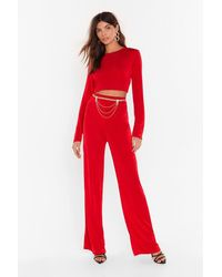 Nasty Gal Just The Two Of Us Crop Top And Wide-leg Pants Set - Red