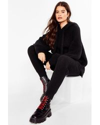 Nasty Gal Knits Just Us Two Ribbed Hoodie And Jogger Set - Black