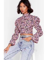 """Nasty Gal """"watch You Grow Floral Cropped Blouse"""" - Pink"""
