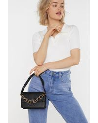 "Nasty Gal ""want Hanging On The Telephone Ring Handle Bag"" - Black"