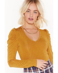 Nasty Gal Ms Slinky Rib Puff Sleeve Plunge Top - Yellow