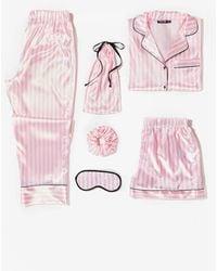 Nasty Gal Just Satin Bed 6-pc Striped Pyjama Set - Pink