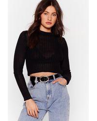 Nasty Gal Sheer Long Sleeve Crop Top - Black
