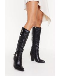 Nasty Gal Ride With Me Knee-high Cowboy Boots - Black
