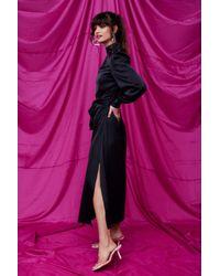Nasty Gal Sleek Your Heart Belted Midi Dress - Black