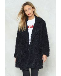 Nasty Gal - Shaggy Oversized Coat Shaggy Oversized Coat - Lyst