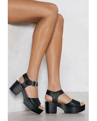 Nasty Gal Platform Faux Leather Sandal - Black