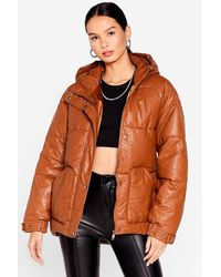 Nasty Gal Faux Leather Belted Puffer Jacket - Brown