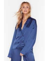 "Nasty Gal ""sleeks For Itself Satin Double-breasted Shirt"" - Blue"