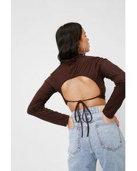 Nasty Gal Petite Crossover Tie Back Ribbed Crop Top - Brown