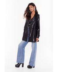 """Nasty Gal """"faux Leather Longline Jacket With Notched Lapels"""" - Black"""