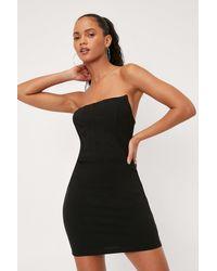 Nasty Gal Dressing Gown Moulante Effet Croset À Armatures Et Épaules Dénudées - Noir