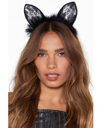 Nasty Gal Are You Fur Real Cat Headband - Black