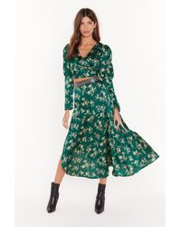 "Nasty Gal ""nothing Bud A Goodtime Satin Floral Midi Skirt"" - Green"