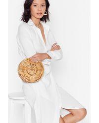 "Nasty Gal ""one Size Wooden Circle Grab Bag"" - Natural"