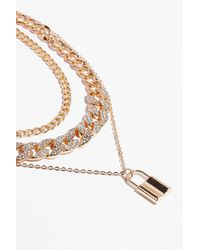 Nasty Gal Lock And Key Layered Chain Necklace - Metallic
