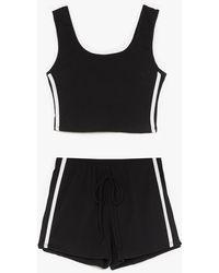 Nasty Gal Side Stripe Crop And Short Set - Black